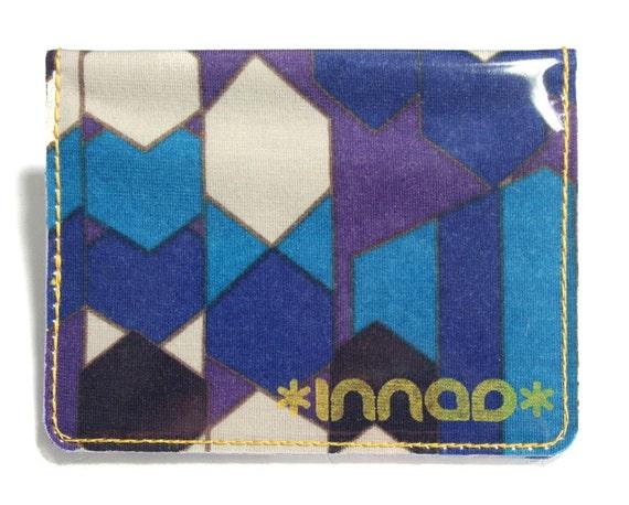 Blue Purple White Black Geometric Angular Knit / Vinyl Wallet
