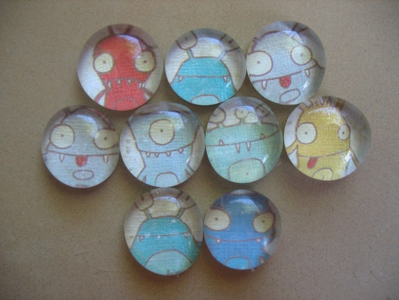 MONSTERS glass marble magnets