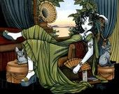 Serena Relaxing Sunset Cat Fairy Art Hand Signed Print