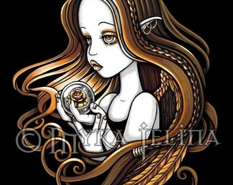 Seika Amber Rose Crystal Ball Angel Art 8x10 Print by Myka Jelina