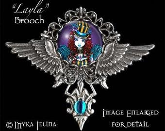 LAST ONE Steampunk Circus Angel Wings BROOCH Pendant Layla Myka Jelina Fairy Art
