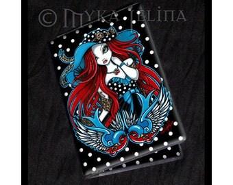 Rockabilly Swallow Tattoo Angel Business Card Holder Emma