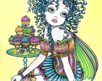 Buttercup Cup Cake Candy Rainbow Fairy Signed Art Print by Myka Jelina