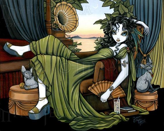 Myka Jelina Fairy Art Serena Relaxing Sunset Cat Fae Signed 13 X 19 inch Print