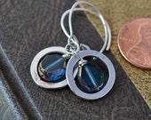 Sterling and Capri Blue Earrings