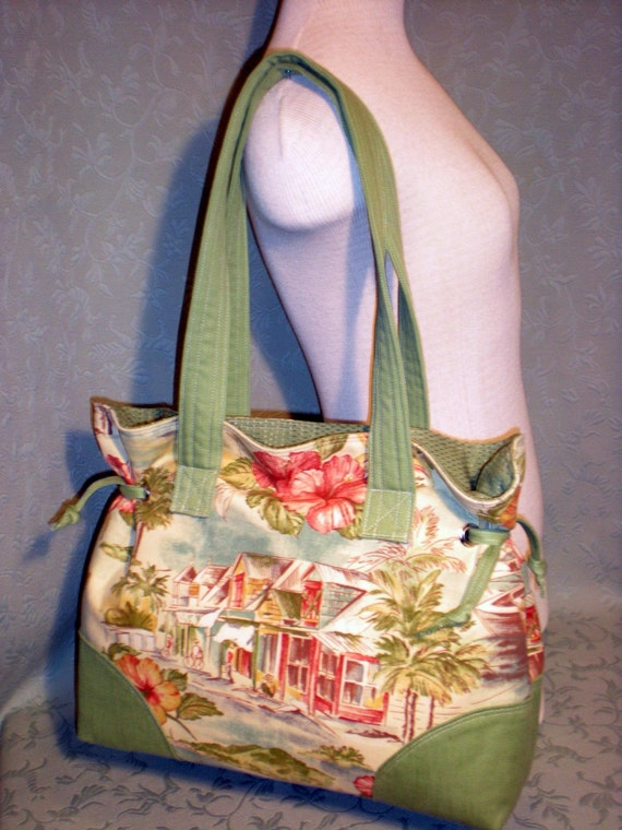 EXTRA LARGE CINCHED TOTE- Island Village and Green- Handmade Handbags by sKpdesigns
