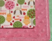 SALE Pink Owl Forest Large Flannel and Minky Baby Blanket