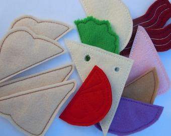 Felt Play Food Half Sandwich Set - Machine Embroidery Designs