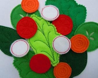 Felt Play Food Salad - Machine Embroidery Designs 4x4