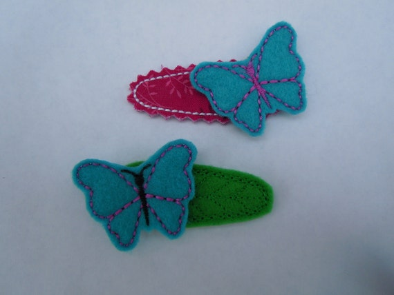 Butterfly For Hair Clips Machine Embroidery Design