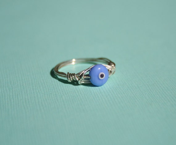Sterling Silver Evil Eye Ring - Medium Blue