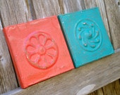 Retro Orange and Turquoise Vintage Ceiling Tin Wall Plaques 60s style decor