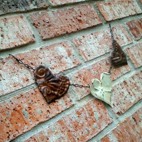 Copper Heart Garland Banner Vintage Ceiling Tin Rusty Cottage White