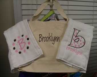 MONOGRAMMED BABY GIFT SET 2 BURP CLOTHS, 1 BAG TOO CUTE
