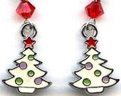 Enameled Trees Sterling Silver Earrings