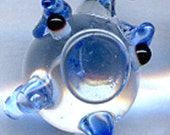Blue Glass Pig Sterling Silver Earrings