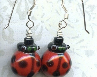 Ladybugs Sterling Silver Earrings