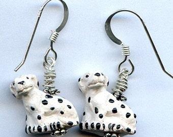 Dalmatian Dogs Sterling Silver Earrings