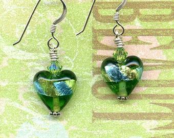 Green Glass Metallic  Hearts Sterling Silver Earrings
