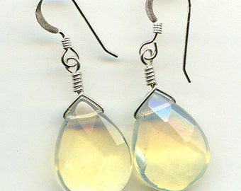 Pineapple Quartz Teardrop Sterling Silver Earrings