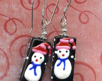 I Love Snowpeople Sterling Silver Earrings