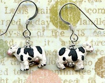 Moo Cows Sterling Silver Earrings
