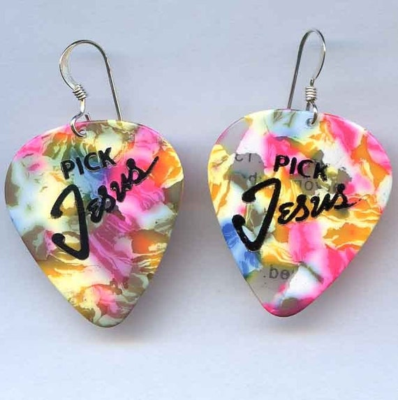 Pick Jesus Guitar Pick Earrings