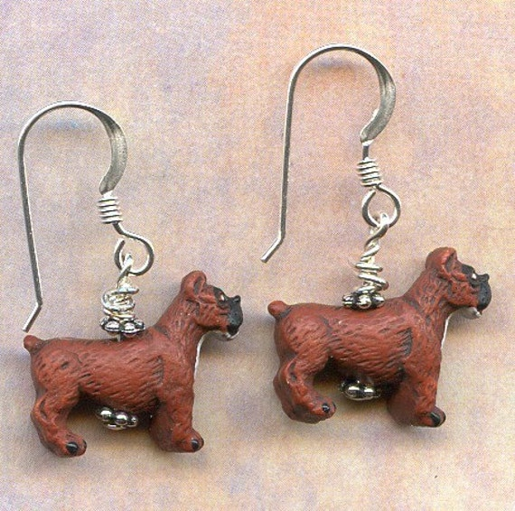 Boxer Dogs Sterling Silver Earrings