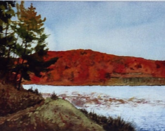 Big Ditch Lake is an original watercolor landscape painting.
