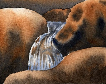 Flow is an ACEO original landscape watercolor painting.
