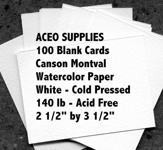 100 ACEO blank watercolor cards of Canson Montval Paper