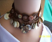 Crochet Button Necklace and Earrings