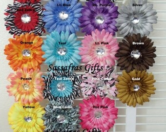 50% OFF-Set of 5 Gerbera Daisy Flower Clips w/ Jeweled Center - Available in 27 Colors--Your Choice of Colors