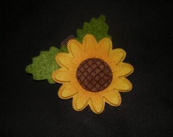 50% OFF--Fall Harvest Felt Sunflower Hair Clip