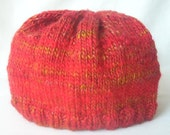 Hand Knit Beanie Hat - The Mean Reds Wool, Bamboo, Silk