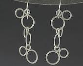 triple circle molecule earrings