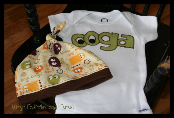 Custom Boutique Ooga Booga Onesie and Beanie Hat-Long or Short Sleeves 0 3 6 9 12 18 24