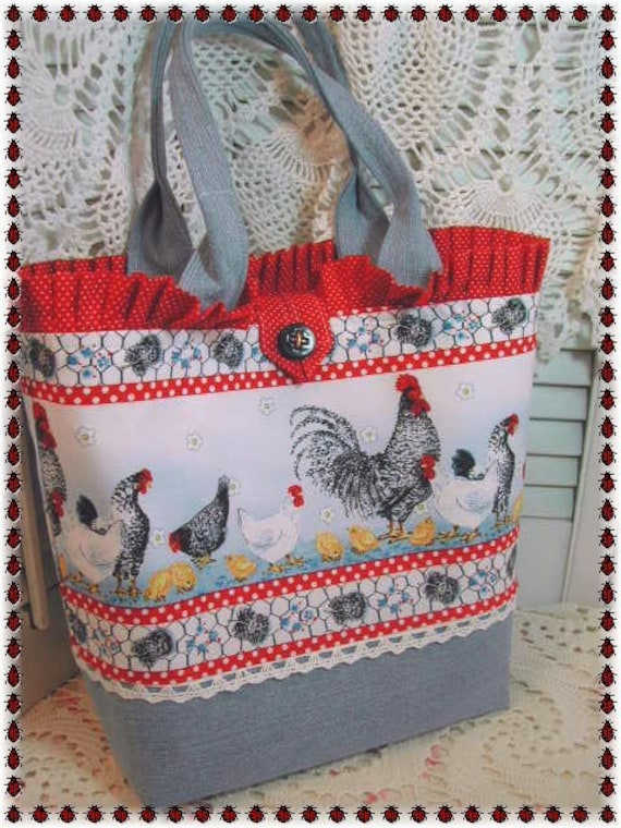 Farm cottage demin Rooster tote