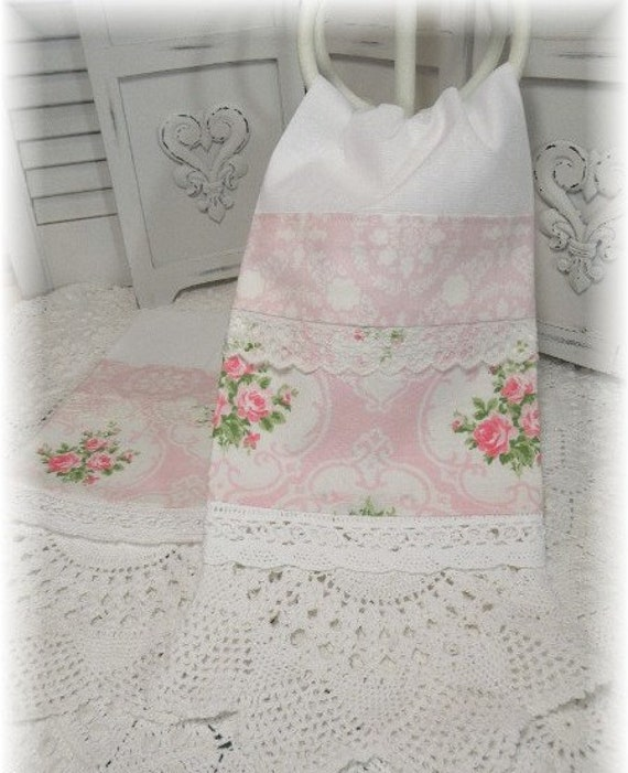 Cottage  Guest towels Vintage cameo Pink roses with doily hems PAIR