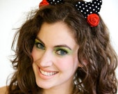 SALE - Black and White Polka Dot Couture Cat Ears with Red Roses - 60% off & FREE GIFT