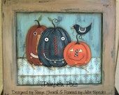 Halloween Fall E Pattern Primitive Pumpkin Pals Terrye French Painting With Friends Instant Download