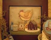 Primitive E Pattern Country Kitchen Folk Art Chicken  Painting With Friends Terrye French Instant Download