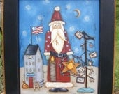 E Pattern Christmas Santa Mail Primitive Folk Art Instant Download Painting With Friends