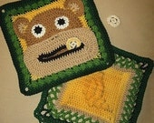 Bruno the Monkey and Banana Granny Square Crochet PATTERN - 2 different squares - PDF