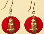 Vintage Owl Charm Earrings on Red Celluloid Disc