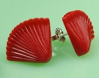 Vintage Red Lucite Fan Post Earrings