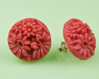 Vintage Red Flower Button Post Earrings