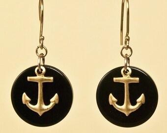Vintage Black Lucite Anchor Earrings