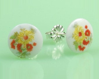 Vintage Glass Yellow and Red Flower Button Post Earrings