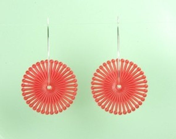 Vintage Red Lucite Spiral Earrings